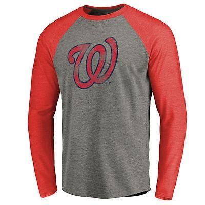 ファナティックスブランディッド ベースボール MLB 野球 アメリカ メジャー 全米 Washington Nationals Ash Distressed Team Raglan Tri-Blend 長袖 Tシャツ