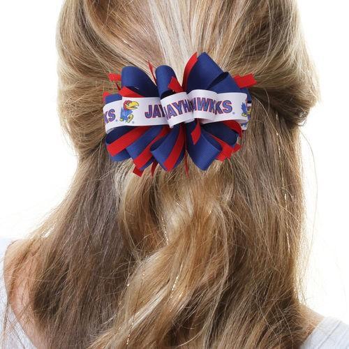 カレッジ NCAA 大学 アメリカ スポーツ USA ディバイン クリエイション Kansas Jayhawks Women's Cheer Loop Hair Bow