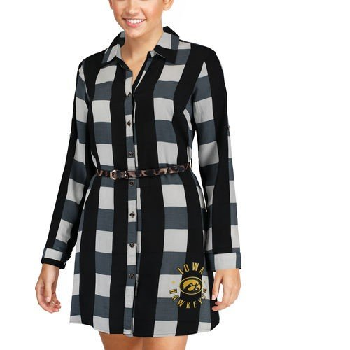 当季大流行 カレッジ NCAA 大学 Black アメリカ スポーツ USA ゲームデイクチュール Iowa Hawkeyes Shirt USA Women's Black Leopard Belted Plaid Tunic Shirt Dress, テソロ:310f58e4 --- airmodconsu.dominiotemporario.com