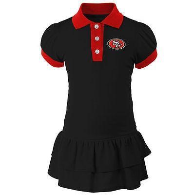 フットボール メジャー USA 全米 アメリカ NFL アウタースタッフ San Francisco 49ers Girls Infant ブラック Preppy Fan Polo ドレス