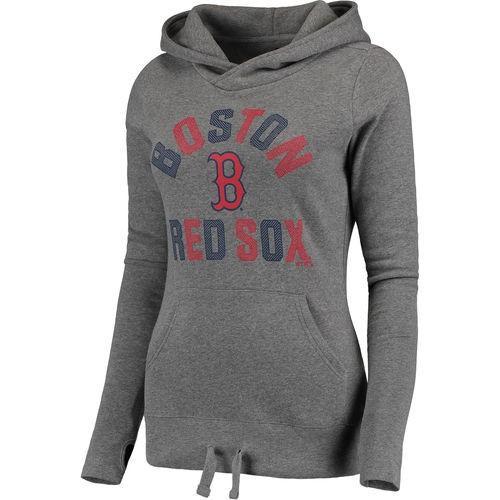 全米 アメリカ メジャー 野球 MLB ファナティックス Boston レッドソックス レディース グレー モダン First Time Team ファッション プルオーバーパーカー