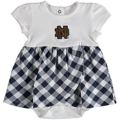 カレッジ NCAA アメリカ USA 大学 スポーツ ガーブ Notre Dame Fighting Irish Infant ネイビー Miranda Gingham プリント ドレス