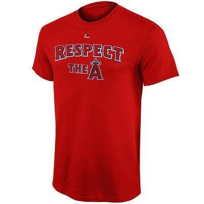野球 メジャーリーグ MLB Majestic Los エンジェルes エンジェルs of Anaheim 赤 Respect The Tシャツ