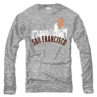 スポーツ ファン ウェア レプリカ ユニフォーム 応援 野球 MLB Majestic Threads San Francisco Giants Ash Skylong Tri Blend Long Sleeve T Shirt