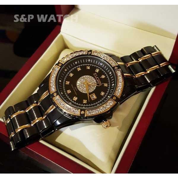 アクセサリー 腕時計 エルジン メンズ ラグジュアリー エレガント ブラック ゴールド クリスタル ダイヤモンド ドレス アナログ ラウンド ウォッチ pandastore