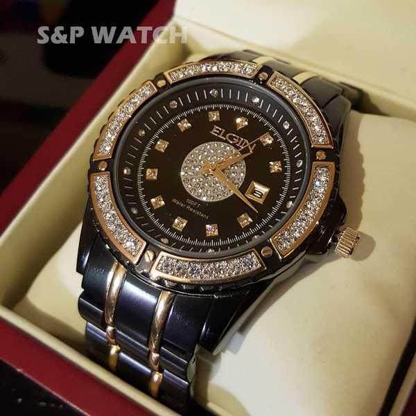 アクセサリー 腕時計 エルジン メンズ ラグジュアリー エレガント ブラック ゴールド クリスタル ダイヤモンド ドレス アナログ ラウンド ウォッチ pandastore 02