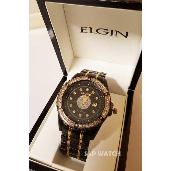 アクセサリー 腕時計 エルジン メンズ ラグジュアリー エレガント ブラック ゴールド クリスタル ダイヤモンド ドレス アナログ ラウンド ウォッチ pandastore 03
