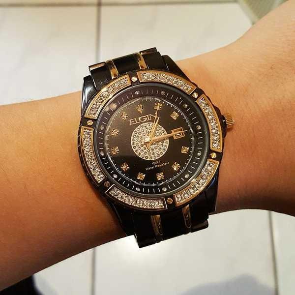 アクセサリー 腕時計 エルジン メンズ ラグジュアリー エレガント ブラック ゴールド クリスタル ダイヤモンド ドレス アナログ ラウンド ウォッチ pandastore 04