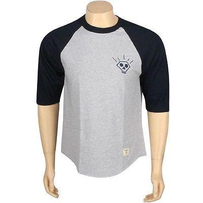 アスレチック ウェア ダイアモンドサプライ ダイヤモンド Supply Co Skull 2 Raglan Tシャツ (ネイビー / heather) B13P411NHE