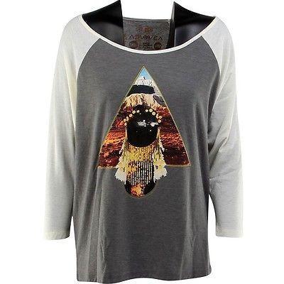 アスレチック ウェア ルカ RVCA レディース Pine マウンテンs Raglan Tシャツ (グレー / athetic / ナチュラル) W405501PGRY