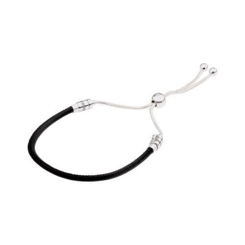 【値下げ】 ブレスレット パンドラ Pandora Sliding Black Leather Bracelet With Clear CZ 597225CBK2, ヨナグニチョウ adb53495
