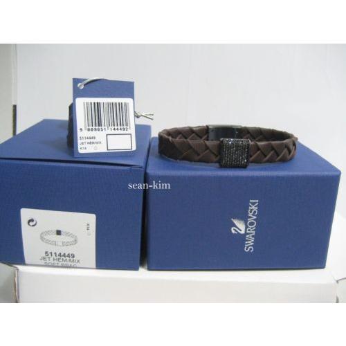 【売り切り御免!】 ブレスレット スワロフスキー Swarovski Capture Bracelet Brown Men's Leather-Stainless steel-crystal 5114449, KPI 6c2f6e76
