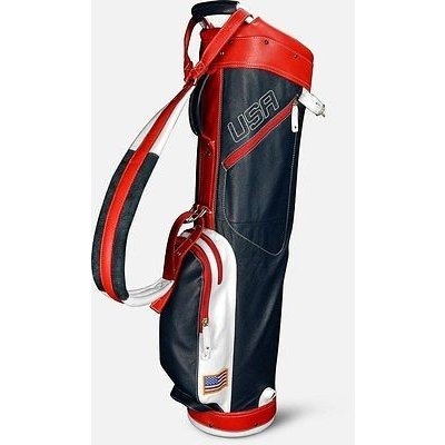 ゴルフクラブバッグ サンマウンテン Sun Mountain レザー Sunday バッグ ネイビー/ホワイト/レッド -ゴルフ バッグ
