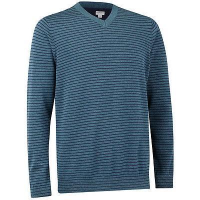 シャツ トップス セーター アシュワース Ashworth Pima コットン ストライプ Vネック セーター Legion ブルー XX-ラージ