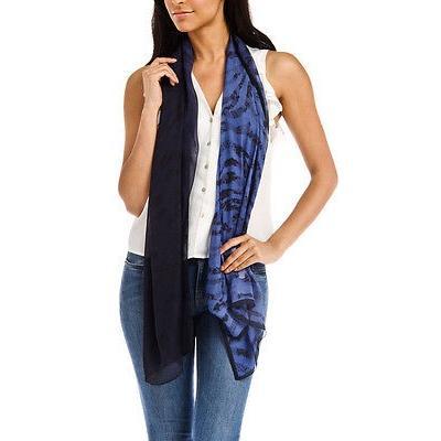 レディース ファッション小物スカーフ・マフラー・ストールUngaro UN7018 S8058 フローラル mesh プリント ブルー シルク スカーフ