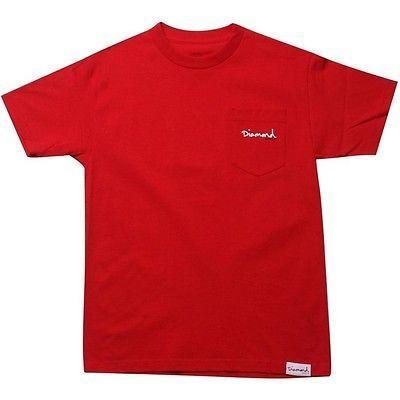 アスレチック ウェア ダイアモンドサプライ ダイヤモンド Supply Co OG Script ポケット Tシャツ (レッド) OGSCRIPTPレッド