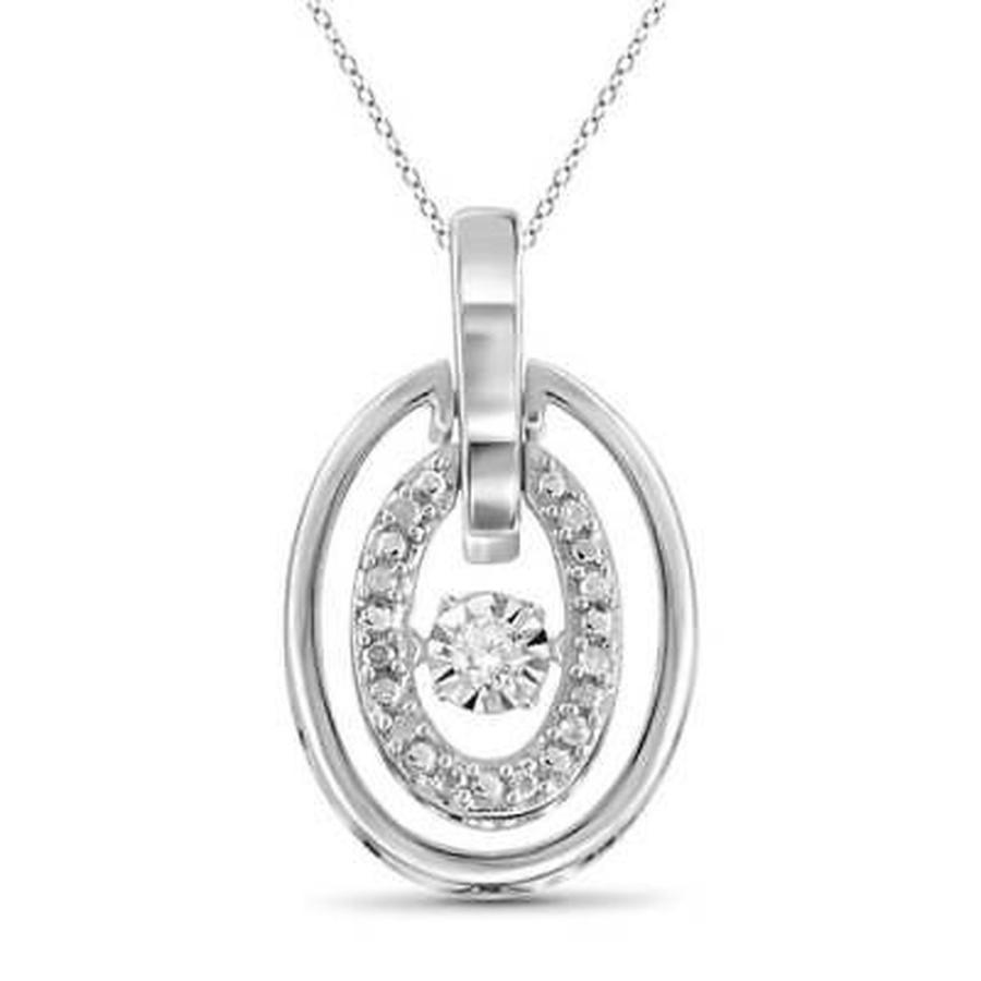 新素材新作 ダイヤモンド ジュエルオンファイヤー Jewelonfire Sterling Silver 1/10ct TDW White Diamond Pendant White, オウミハチマンシ c5160cd5