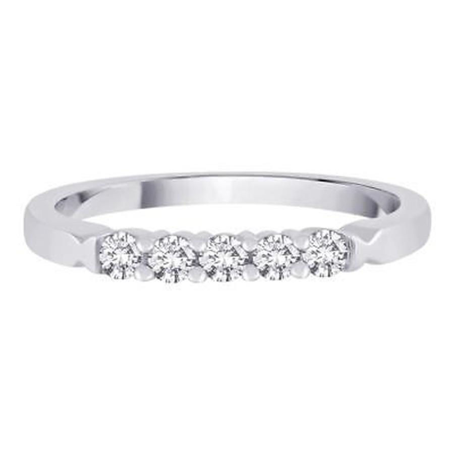 品質が完璧 ダイヤモンド 宝石 TDW アンブランディッド 14K 宝石 White Gold 1/4ct 1/4ct TDW Diamond 5-Stone Wedding Band, ECデザインショップ:7531e971 --- airmodconsu.dominiotemporario.com