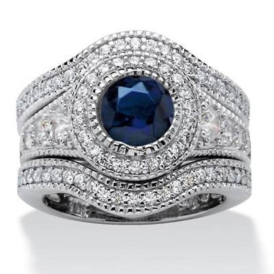 格安販売の CZ モアッサナイト and 模擬 Sapphire パームビーチジュエリー Platinum over Sterling Silver Glam Glam CZ Cubic Zirconia and Created Sapphire, 生涯学習のユーキャン:ba134c19 --- airmodconsu.dominiotemporario.com