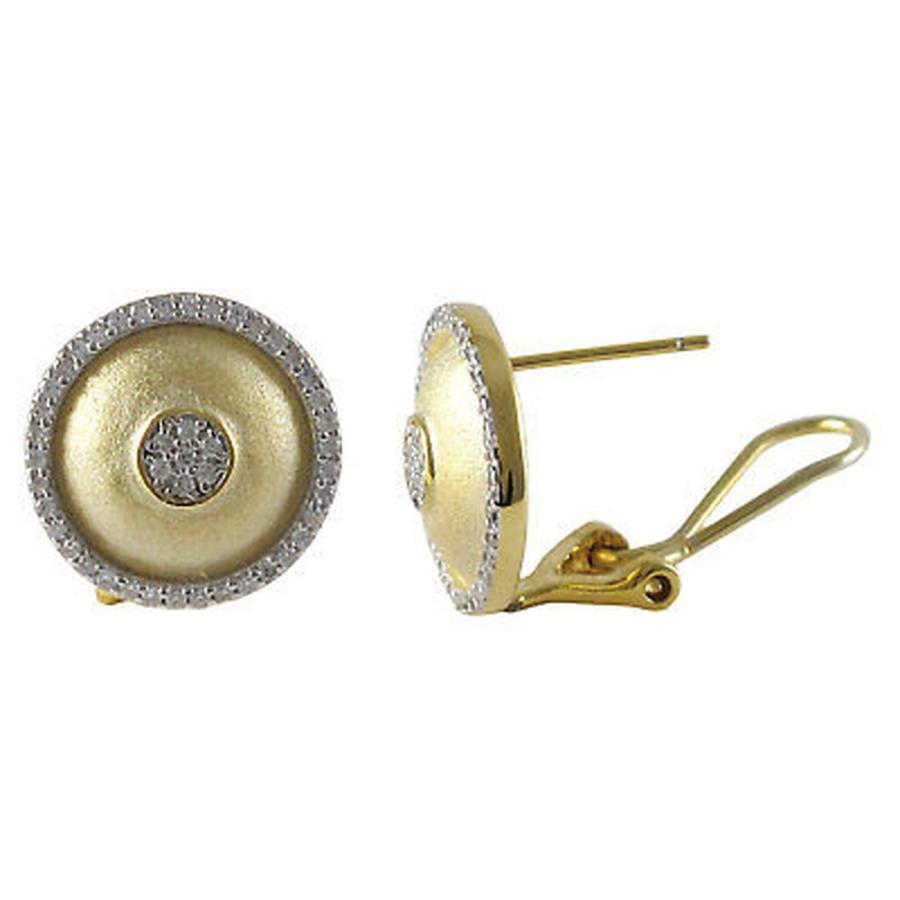 【国内正規品】 イヤリング 海外セレクション Tone Luxiro Sterling Silver CZ Two Tone Earrings Domed Brushed Domed Circle Stud Earrings, アンティークマイクS:2fed6045 --- airmodconsu.dominiotemporario.com