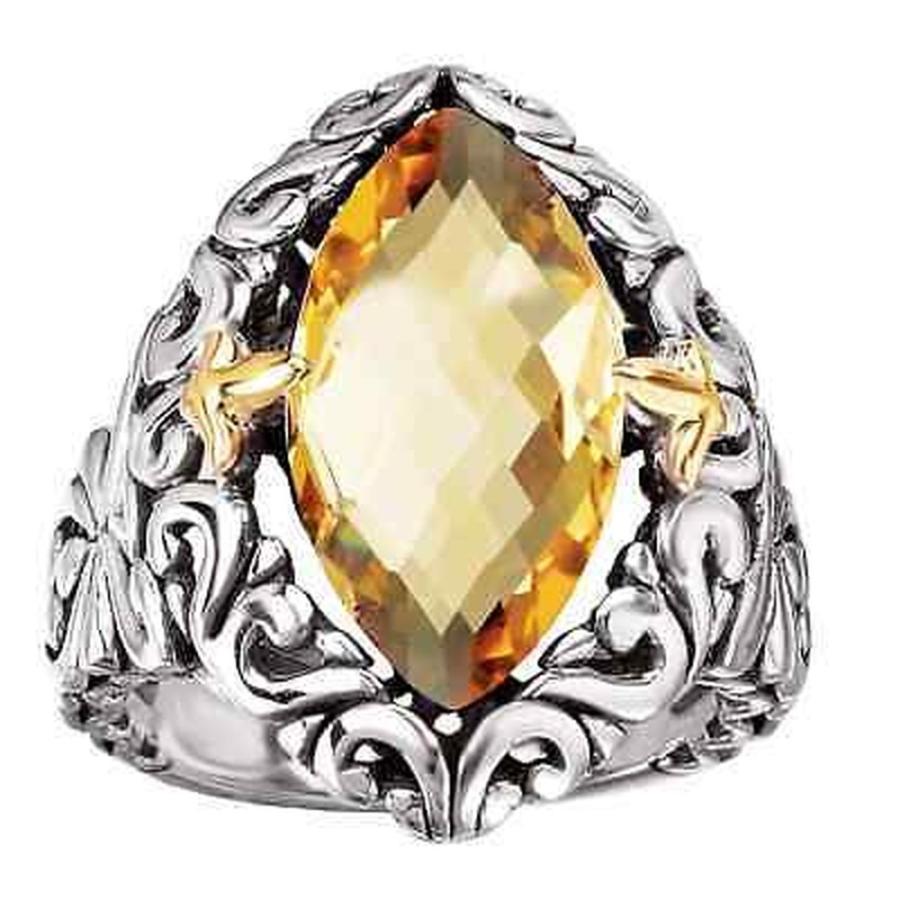 配送員設置 ジェムストーン アヴァンティ ジェムストーン Avanti Sterling Sterling Silver and 18k Silver Yellow Gold Marquise Shape Citrine Scroll Design, カシバシ:eda99472 --- airmodconsu.dominiotemporario.com