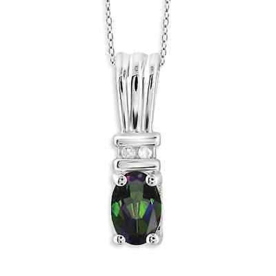 高品質の激安 ジェムストーン ジュエルオンファイヤー Jewelonfire Sterling Silver 1/2ct TW Mystic Topaz and Diamond Accent Pendant, 名護市 9fcda310