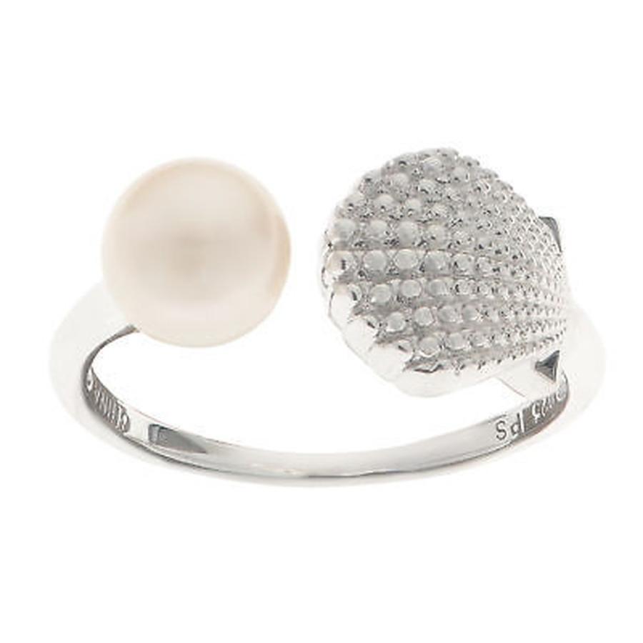激安通販 パールスチャーバイインペリアル パール Pearls For You Sterling Silver White Freshwater Pearl Seashell Ring (6.5-7 mm), ブランドバリュー 4b083207