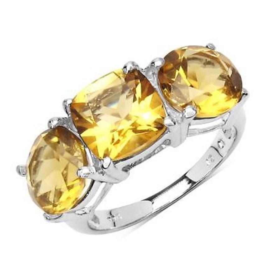 開店記念セール! 海外セレクション ジェムストーン Olivia Leone 5.80 Carat Genuine Citrine .925 Sterling Silver Ring - Yellow, 山門郡 9e483996