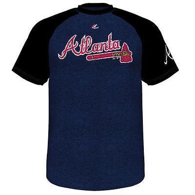 マジェスティック アメリカ USA メジャー リーグ 全米 野球 MLB Majestic Atlanta Braves ネイビー Club Favorite Raglan Tシャツ