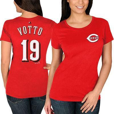 マジェスティック アメリカ USA メジャー リーグ 全米 野球 MLB Majestic Joey Votto Cincinnati レッドs レディース レッド ネーム ナンバー Tシャツ