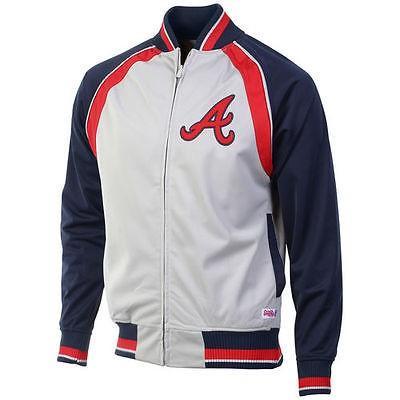 海外バイヤーおすすめ アメリカ USA メジャー リーグ 全米 野球 MLB Stitches Atlanta Braves グレー Poly Brushed フルジップ トラック ジャケット