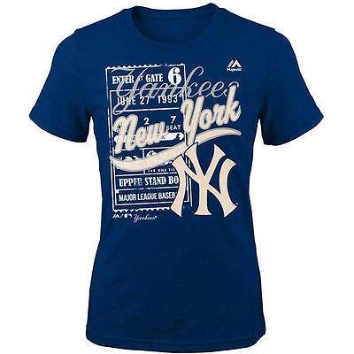 マジェスティック アメリカ USA メジャー リーグ 全米 野球 MLB Majestic New York Yankees ユース Girls ネイビー Terrorizing Play Tシャツ