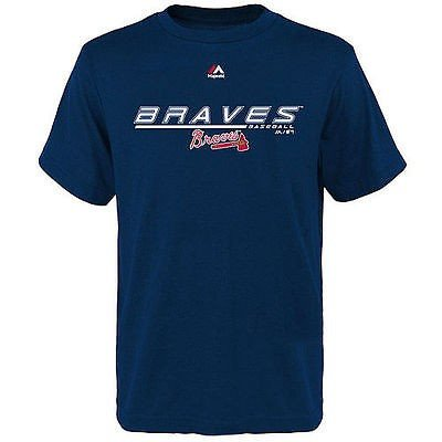 マジェスティック アメリカ USA メジャー リーグ 全米 野球 MLB Majestic ユース Atlanta Braves Aggressive Feel Tシャツ ネイビー
