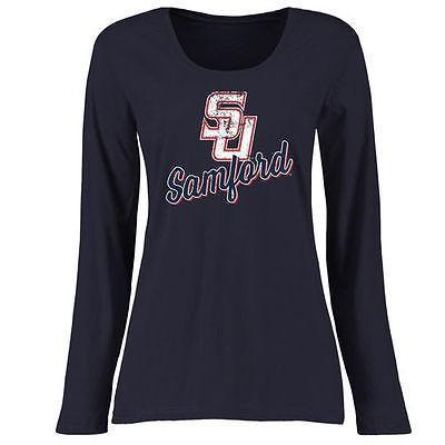 海外バイヤーおすすめ アメリカ USA カレッジ 全米 リーグ NCAA Samford Bullドッグs レディース ネイビー プラス サイズ スラントスクリプト 長袖 Tシャツ