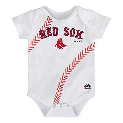 マジェスティック アメリカ USA メジャー リーグ 全米 野球 MLB Majestic Boston レッド Sox Newborn ホワイト Stitches ベースボール ボディースーツ
