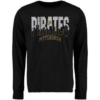 海外バイヤーおすすめ アメリカ USA メジャー リーグ 全米 野球 MLB Majestic Threads Pittsburgh Pirates ブラック Skyline トライブレンド 長袖 Tシャツ