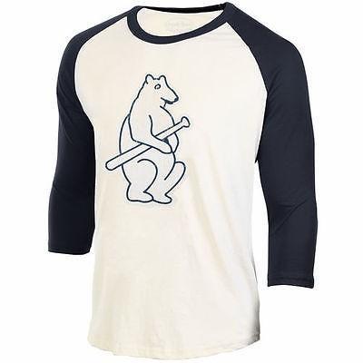 海外バイヤーおすすめ アメリカ USA メジャー リーグ 全米 野球 MLB Majestic Threads Chicago Cubs クリーム Washed Old Raglan Tシャツ