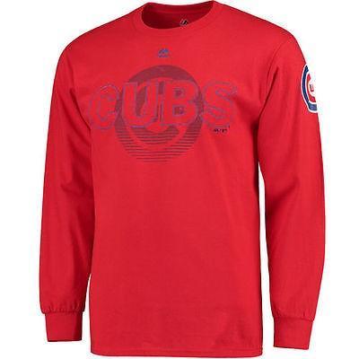 マジェスティック アメリカ USA メジャー リーグ 全米 野球 MLB Majestic Chicago Cubs レッド Pressing Issues 長袖 Tシャツ