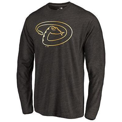 海外バイヤーおすすめ アメリカ USA メジャー リーグ 全米 野球 MLB Arizona ダイヤモンドbacks ブラック ゴールド コレクション 長袖 トライブレンド Tシャツ