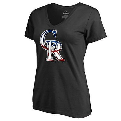 ファナティックス ブランディッド ベースボール MLB 野球 アメリカ USA 全米 コロラド Rockies レディース ブラック Banner Wave スリム Fit Tシャツ