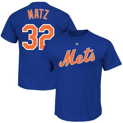 マジェスティック ベースボール MLB 野球 アメリカ USA 全米 Majestic Steven Matz New York Mets Royal Official Name and Number Tシャツ