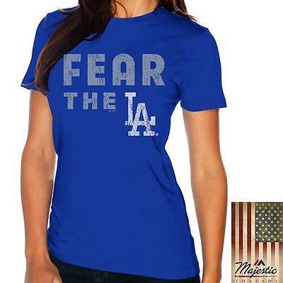 マジェスティック スレッド ベースボール MLB 野球 アメリカ USA 全米 Majestic Threads ロサンゼルス Dodgers レディース Royal Fear The Team Tシャツ