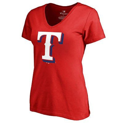 ファナティックス ベースボール MLB 野球 アメリカ USA 全米 Texas Rangers レディース レッド Secondary カラー Primary Logo スリム Fit Tシャツ