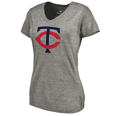ファナティックス ブランディッド ベースボール MLB 野球 アメリカ USA 全米 Minnesota Twins レディース Ash Primary Logo Tri-Blend Vネック Tシャツ