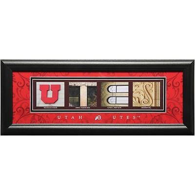 Prints Charm海外セレクション カレッジ スポーツ NCAA アメリカ USA 大学 Utah Utes 8'' x 20'' フレームド Letter Art - ブラック
