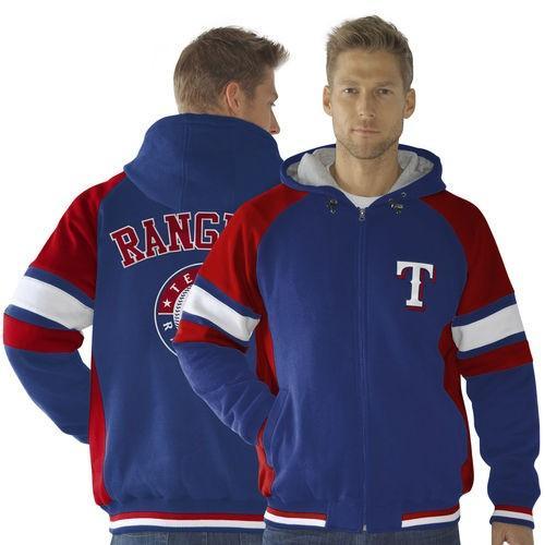 【メーカー直売】 G-III Sports by Carl Banks ベースボール MLB 野球 アメリカ メジャー 全米 Texas Rangers Fumble Recovery Full ジップ パーカー - Royal ブルー/レッド, DRESCCO(ドレスコ) efb08d62