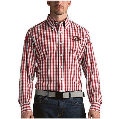 夏セール開催中 MAX80%OFF! フットボール Button NFL アメリカ USA 全米 Shirt メジャー アンティグア Antigua Antigua San Francisco 49ers Scarlet Alliance Woven Long Sleeve Button Down Shirt, 漫画全巻ハンター:a8dc36b4 --- airmodconsu.dominiotemporario.com