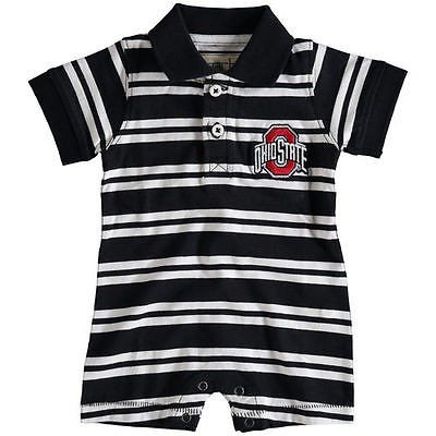 カレッジ NCAA アメリカ USA 大学 スポーツ ガーブ Ohio State Buckeyes Infant ブラック オリバー ストライプ Polo Romper