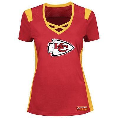 フットボール メジャー USA 全米 アメリカ NFL マジェスティック Majestic Kansas City Chiefs レディース レッド Draft Me Tシャツ