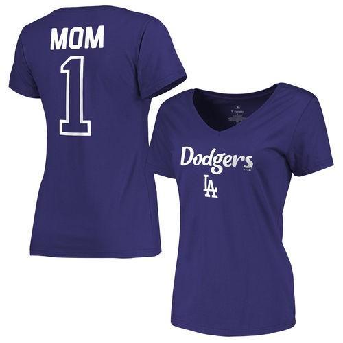 全米 アメリカ メジャー 野球 MLB ファナティックス ブランデッド L.A. Dodgers レディース Royal 2016 Mother's Day #1 Mom スリム-Fit Vネック Tシャツ